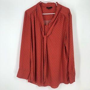 Dalia orange white polka dots secretary blouse xl